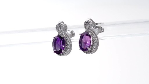 Oval Amethyst and White Topaz Infinity Frame Stud Earrings in Sterling Silver - image 4 from the video