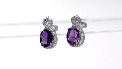 Oval Amethyst and White Topaz Infinity Frame Stud Earrings in Sterling Silver - image 5 from the video