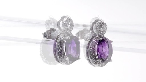 Oval Amethyst and White Topaz Infinity Frame Stud Earrings in Sterling Silver - image 7 from the video
