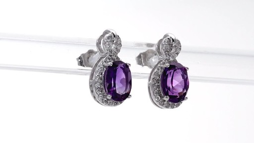 Oval Amethyst and White Topaz Infinity Frame Stud Earrings in Sterling Silver - image 8 from the video