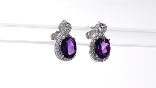 Oval Amethyst and White Topaz Infinity Frame Stud Earrings in Sterling Silver - image 9 from the video