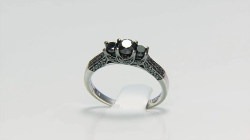 Enhanced Black Diamond Three Stone Engagement Ring in Sterling Silver Shop