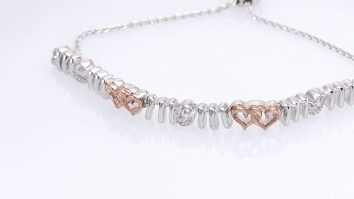 Zales Diamond Accent Interlocking Hearts Mom Bolo Bracelet in Sterling Silver and 10K Rose Gold - 9.5 o3B6ZtT