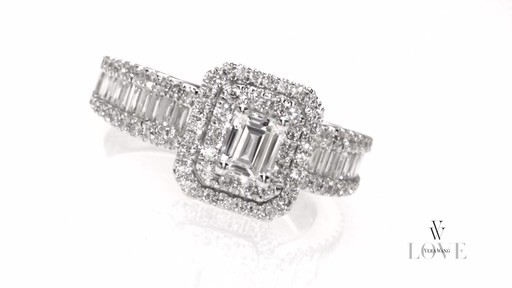 Emerald Cut Diamond Double Frame Ring In 14k White Gold