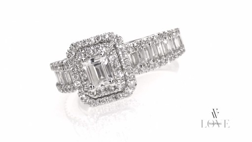 Emerald-Cut Diamond Double Frame Ring in 14K White Gold Vera Wang ...