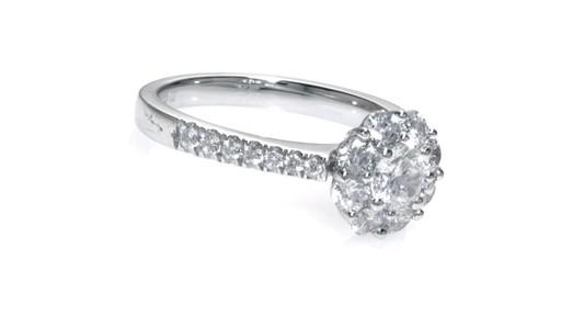 Diamond Flower Frame Engagement Ring in 14K White Gold Women s Size re