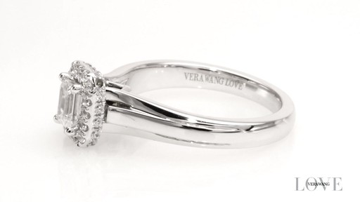 emerald cut rectangle frame engagement ring in 14k
