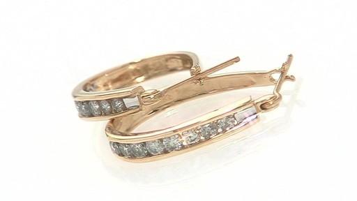 Channel Set Diamond Oval Hoop Earrings In 14k Gold 1 Ct T
