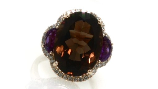 Diamond Ring In 14k Gold Effy Collection Smoky Quartz