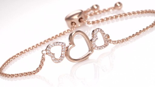 Zales Lab-Created White Sapphire Triple Heart Bolo Necklace in Sterling Silver with 18K Rose Gold Plate - 26 hp49JdUrcZ