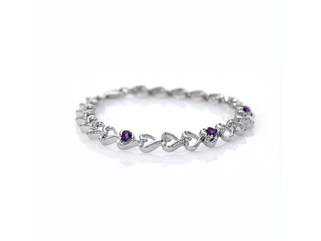 Amethyst And Lab Created White Sapphire Hearts Line