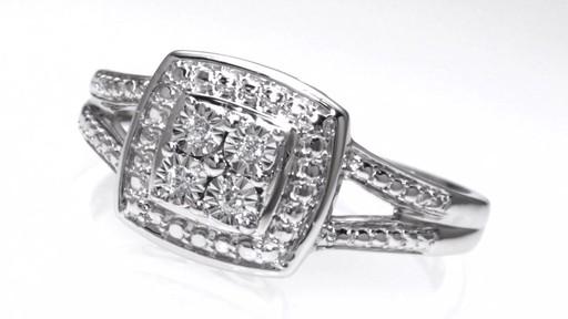 Quad Diamond Accent Frame Split Shank Promise Ring in Sterling Silver Shop