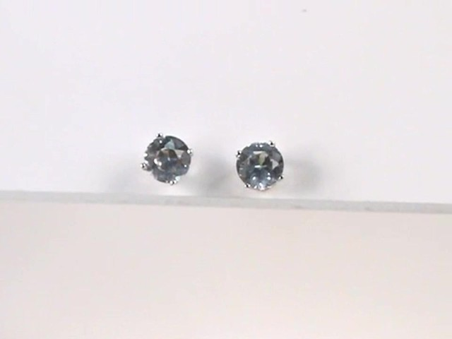 Lab Created White Sapphire Stud Earrings In 10k White Gold