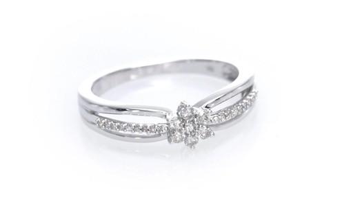 posite Diamond Flower Split Shank Promise Ring in 10K White Gold Women& 3