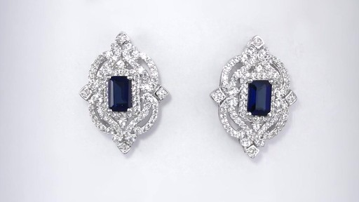 Zales Emerald Cut Lab Created Blue And White Sapphire