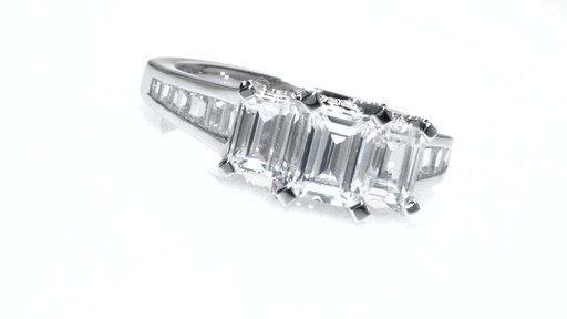certified emerald cut past present future ring in