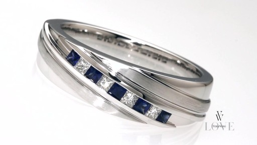 Diamond Slant Band in 14K White Gold Vera Wang LOVE Collection Mens
