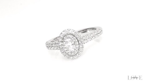 6d2e80dca5d1a Oval Diamond Double Frame Engagement Ring in 14K White Gold ZALES Vera Wang  Love Collection 3/4