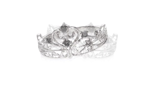 Enhanced Black Diamond Crown Ring in Sterling Silver ZALES 1 10 Shop Zales