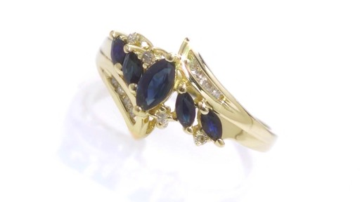 5 Stone Marquise Sapphire Ring With Diamond Accents In 10k