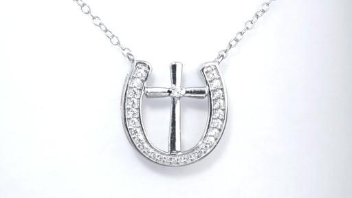 Diamond Cross In Horseshoe Necklace In Sterling Silver Women S Size Regular Zales 1 5