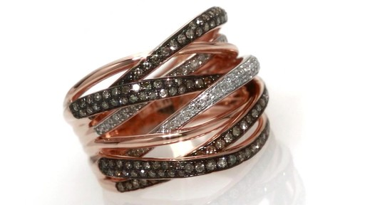 Enhanced Champagne And White Diamond Orbit Ring In 14k