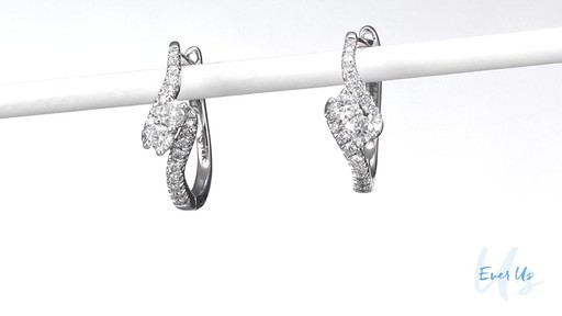 Two Stone Diamond Bypass Hoop Earrings In 14k White Gold