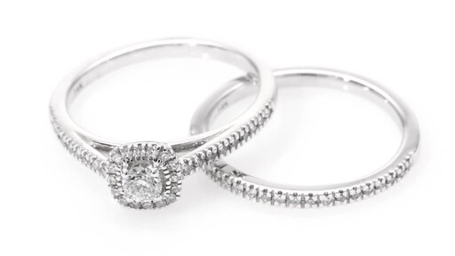1/2 CT. T.W. Diamond Frame Bridal Set in 14K White Gold at Zales - image 10 from the video