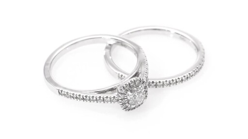 1/2 CT. T.W. Diamond Frame Bridal Set in 14K White Gold at Zales - image 6 from the video