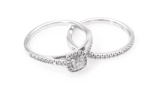 1/2 CT. T.W. Diamond Frame Bridal Set in 14K White Gold at Zales - image 7 from the video