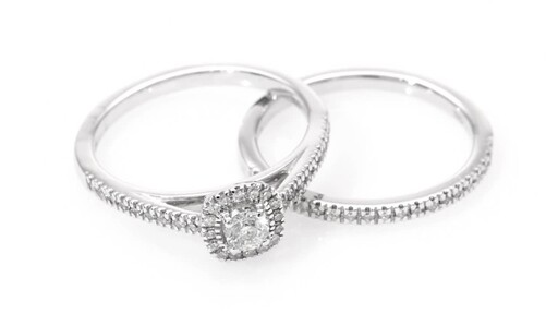 1/2 CT. T.W. Diamond Frame Bridal Set in 14K White Gold at Zales - image 8 from the video