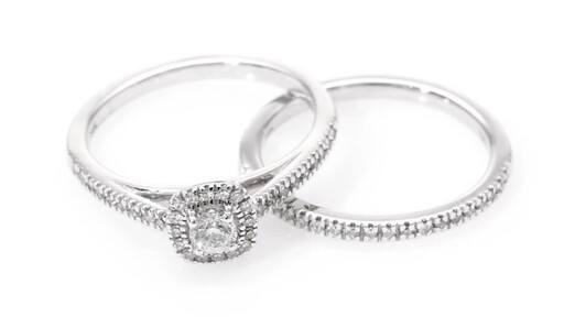 1/2 CT. T.W. Diamond Frame Bridal Set in 14K White Gold at Zales - image 9 from the video