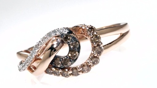 Champagne And White Diamond Double Infinity Ring In 10k