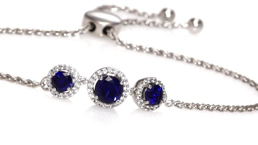 Zales Lab-Created Blue and White Sapphire Frame Three Stone Drop Earrings in Sterling Silver 2o12C0