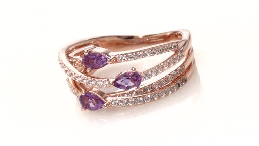 Zales Emerald-Cut Lab-Created Ruby and Amethyst Three Stone Frame Ring in Sterling Silver with 14K Rose Gold Plate Z01BjTbTRO