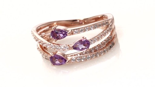 242614131 ZALES Pear-Shaped Amethyst and Lab-Created White Sapphire Three Stone Orbit  Ring in