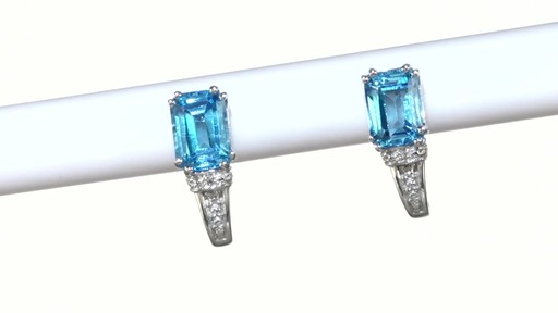 ZALES Emerald-Cut Blue Topaz and Diamond Accent Drop Earrings in 10K White Gold, Women's, Size: regular - image 10 from the video