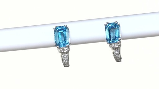 ZALES Emerald-Cut Blue Topaz and Diamond Accent Drop Earrings in 10K White Gold, Women's, Size: regular - image 2 from the video
