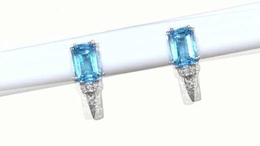 ZALES Emerald-Cut Blue Topaz and Diamond Accent Drop Earrings in 10K White Gold, Women's, Size: regular - image 4 from the video