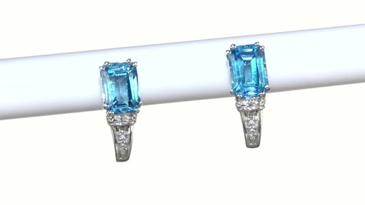 ZALES Emerald-Cut Blue Topaz and Diamond Accent Drop Earrings in 10K White Gold, Women's, Size: regular - image 5 from the video