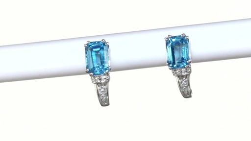 ZALES Emerald-Cut Blue Topaz and Diamond Accent Drop Earrings in 10K White Gold, Women's, Size: regular - image 9 from the video