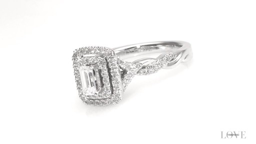 Emerald Cut Diamond Double Frame Engagement Ring In 14k