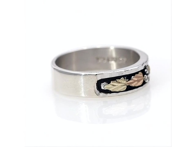 Black Hills Gold Antique-Finish Leaf Wedding Band in Sterling Silver - image 1 from the video