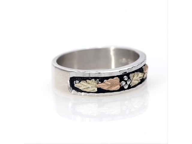 Black Hills Gold Antique-Finish Leaf Wedding Band in Sterling Silver - image 2 from the video