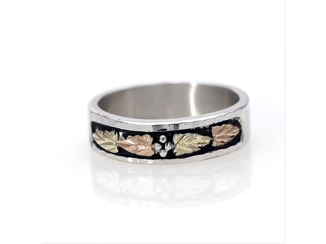 Black Hills Gold Antique-Finish Leaf Wedding Band in Sterling Silver - image 3 from the video