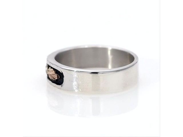 Black Hills Gold Antique-Finish Leaf Wedding Band in Sterling Silver - image 6 from the video