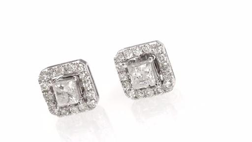Certified Princess Cut Diamond Stud Earrings With Earring