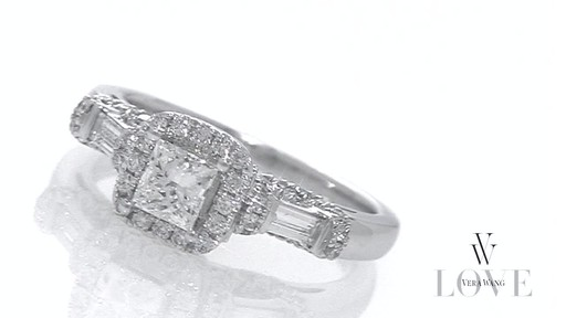 Princess Cut And Baguette Diamond Frame Engagement Ring In
