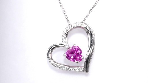 Zales 6.0mm Lab-Created Pink Sapphire and Diamond Accent Infinity Heart Pendant in Sterling Silver PYBxsbZt