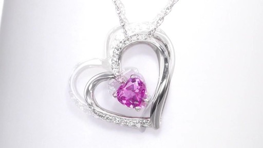 Zales 6.0mm Heart-Shaped Lab-Created Pink and White Sapphire Tilted Heart Pendant in Sterling Silver 93cLUuzP